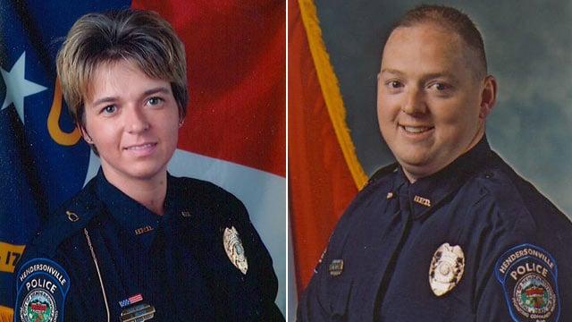 Officers Jennifer Drake (L) and Kenny Hipps. (Source: Hendersonville Police Dept.)