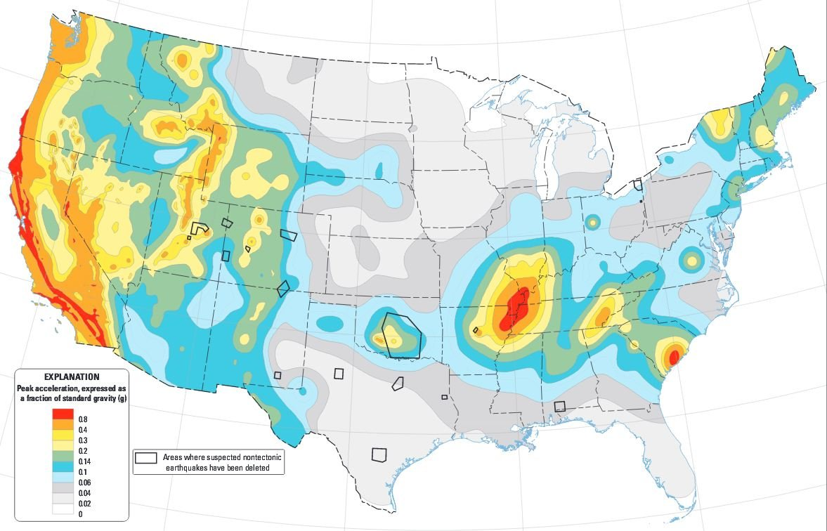 The 2014 U.S. Geological Survey (USGS) National Seismic Hazard Maps display earthquake ground motions for various probability levels across the US. (Source: USGS.gov)