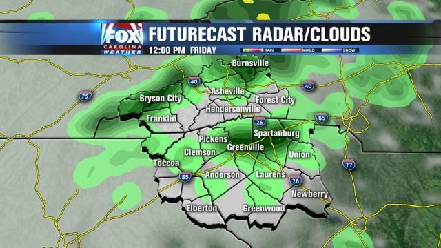 Scattered showers for noon Friday.