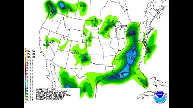 Total rainfall potential by midday Saturday