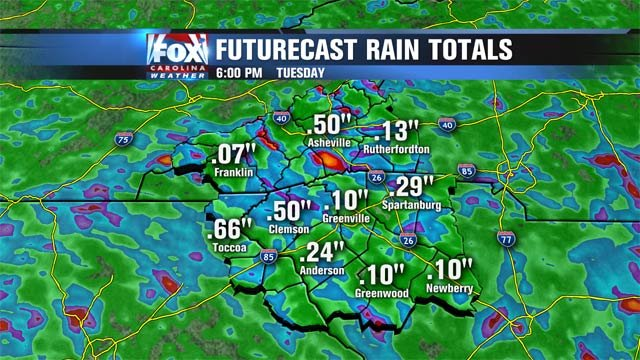 Forecasted rain totals by Tuesday.