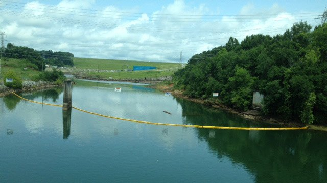 Barriers up in Lake Keowee at site of leak. (July 21, 2014/FOX Carolina)