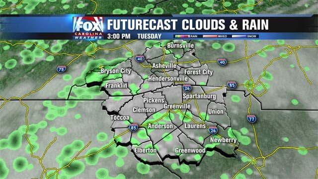 Scattered showers for Tuesday afternoon on Futurecast
