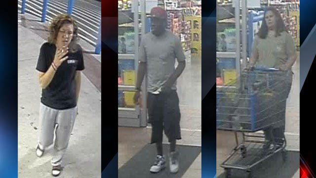 Police are trying to identify these people after a stolen debit card was used at Walmart. (Source: Pickens PD)