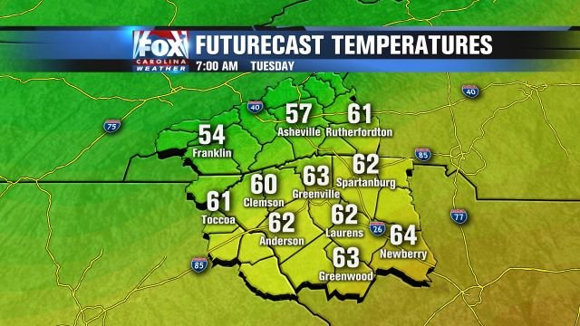 Tuesday morning temps!
