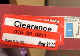 A clearance price tag at a major retailer. (File/FOX Carolina)