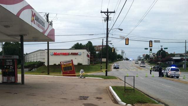 Police shut down Haywood Road because of a sinkhole. (July 31, 2014/FOX Carolina)