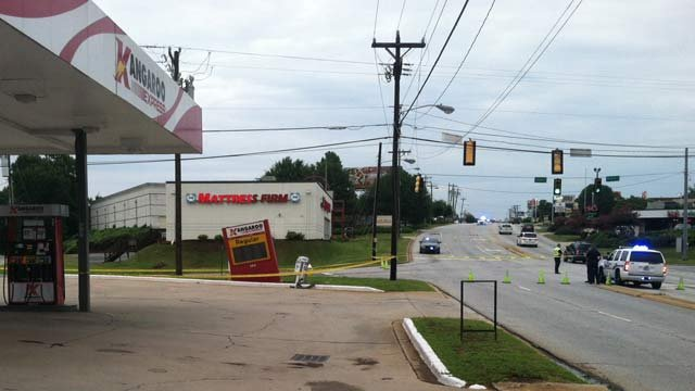 Police shut down Haywood Road because of a sinkhole. (July 31, 2014/FOX Carolina)