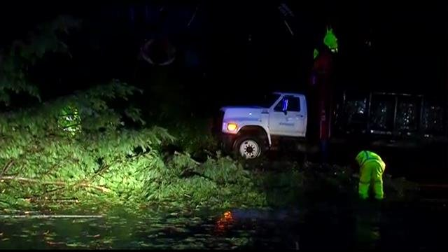 A fallen tree blocks John B. White Sr. Blvd. (Aug. 1, 2014/FOX Carolina)