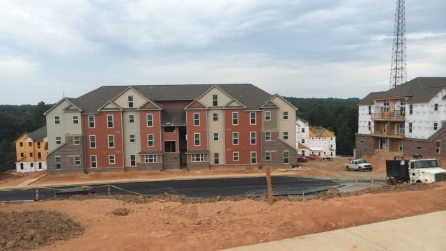 The partially constructed Clemson Lofts. (July 31, 2014/FOX Carolina)