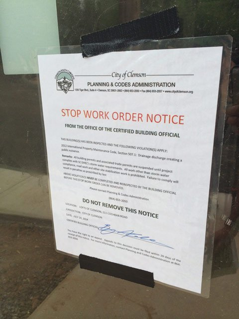 A stop work order posted at the construction site. (July 31, 2014/FOX Carolina)