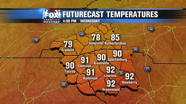 Very warm temperatures for late Wednesday.