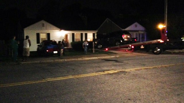 Greenville police said the truck hit a cruiser parked off Parkins Mill Road. (Aug. 6, 2014/FOX Carolina)