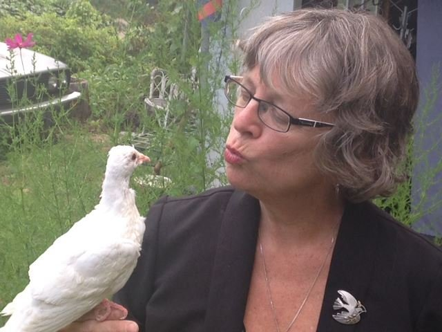 Julia Gaunt and one of her young doves. (Aug. 6, 2014/FOX Carolina)