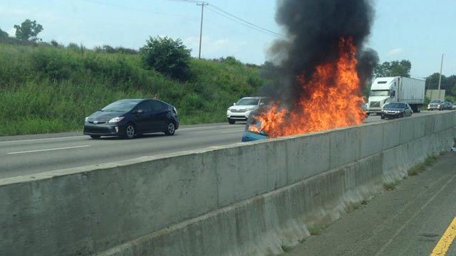 A car fire caused traffic problems on I-85 on Thursday. (iWitness)