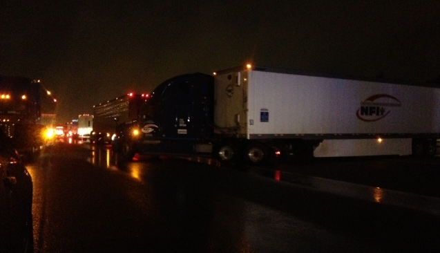 Vehicles were forced to turn around on I-85 after the road closed due to flooding. (Aug. 10, 2014/FOX Carolina)