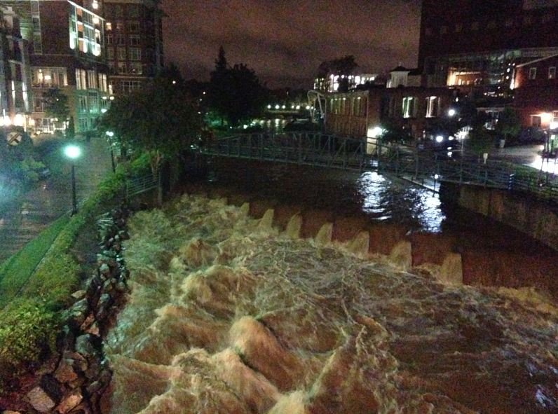 The Reedy River early on Sunday. (Aug. 10, 2014/FOX Carolina)