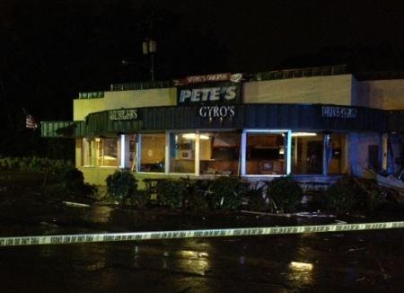 Damage outside Spero's Original Pete's Too (FOX Carolina)