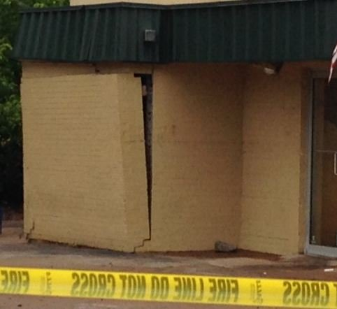Damage outside Spero's Original Pete's Too (FOX Carolina)