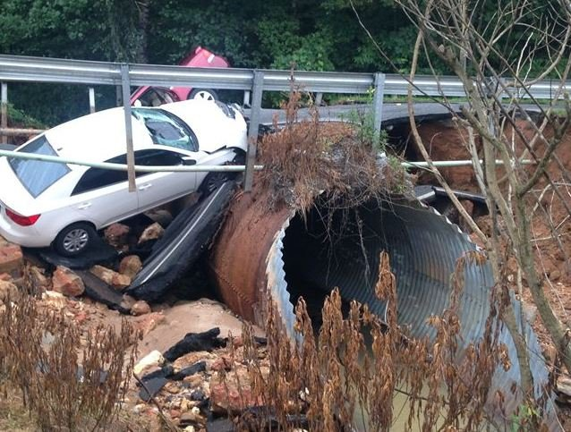 Bridge collapse swallows cars on Memorial Drive Extension (Courtesy: SCDOT)