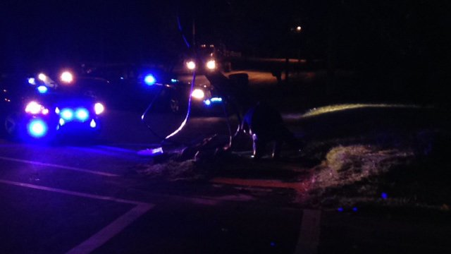 Police block off part of Highway 8 where hit and run accident happened. (Aug. 15, 2014/FOX Carolina)