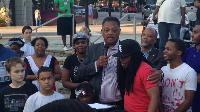 Rev. Jesse Jackson attends Greenville's peaceful rally. (Aug. 14, 2014/FOX Carolina)