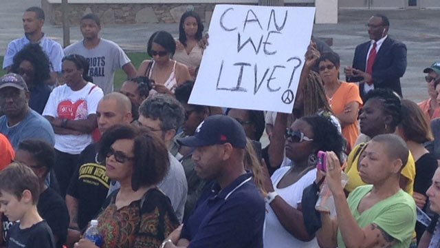 Greenville's peaceful rally held in front of the Peace Center. (Aug. 14, 2014/FOX Carolina)