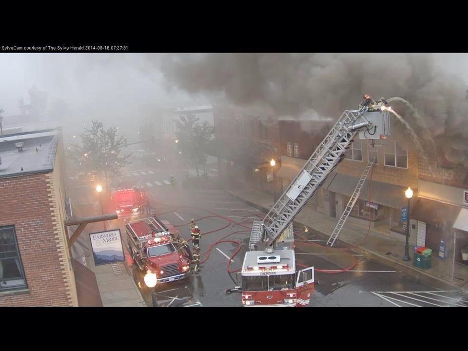 Firefighters battle blaze on Main Street (Courtesy: Sylva Herald)