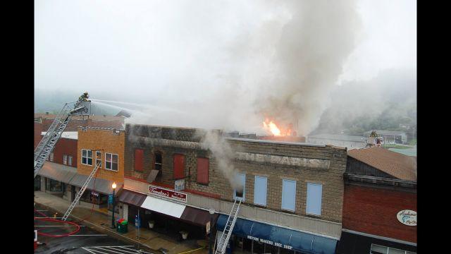 Firefighters battle blaze on Main Street (Courtesy: Sylva Herald)
