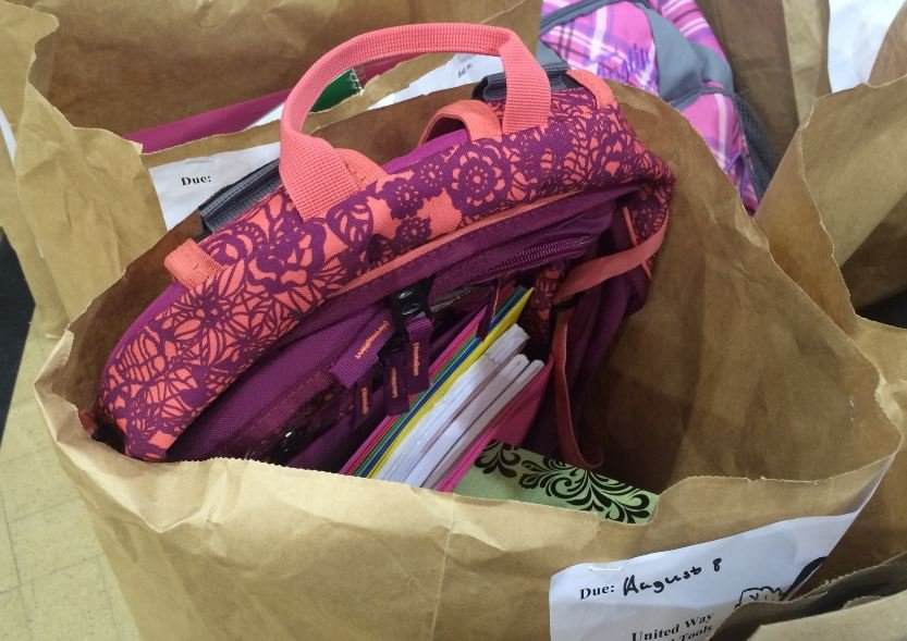 Bag of back to school supplies at United Way's School Tools Day (FOX Carolina)