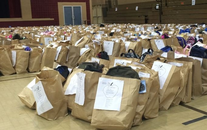 Bags of back to school supplies at United Way's School Tools Day (FOX Carolina)