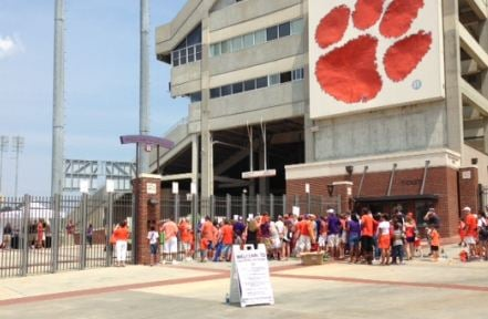 Clemson fans gather at Memorial Stadium (FOX Carolina)