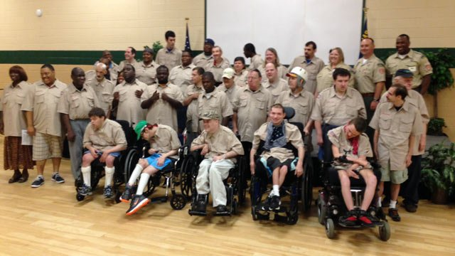The newly inducted Boy Scout Troop at the Charles Lea Center. (Aug. 18, 2014/FOX Carolina)