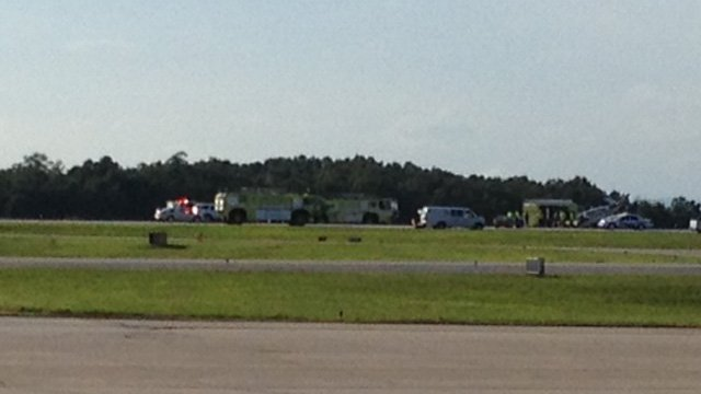 The runway was being cleared at 6:45 p.m. (Aug, 18, 2013/FOX Carolina)