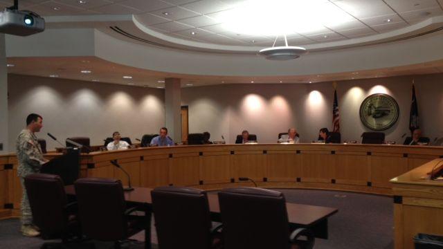 Capt. Chris Jones speaks to the Greenville County Council. (Aug. 19, 2014/FOX Carolina)