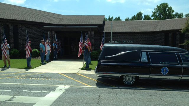 The Patriot Guard gathers to pay their respects to SrA Romain. (Aug. 20, 2014/FOX Carolina)