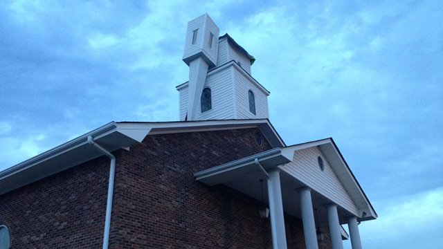 The steeple of Fingerville First Baptist Church toppled over on Wednesday. (Aug. 20, 2014/FOX Carolina)