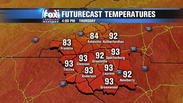 Hot temperatures Thursday afternoon