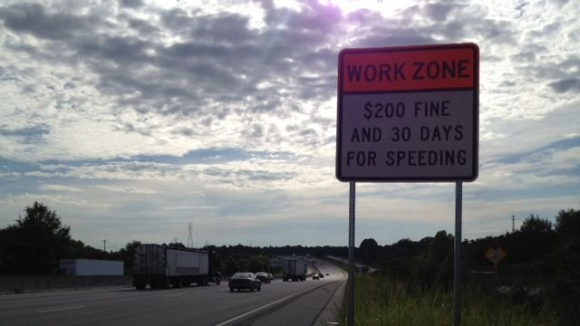 A road work zone reminder sign on I-85. (Aug. 18, 2014/FOX Carolina)