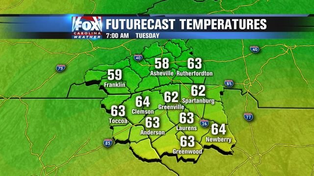 Cool temperatures for Tuesday morning.