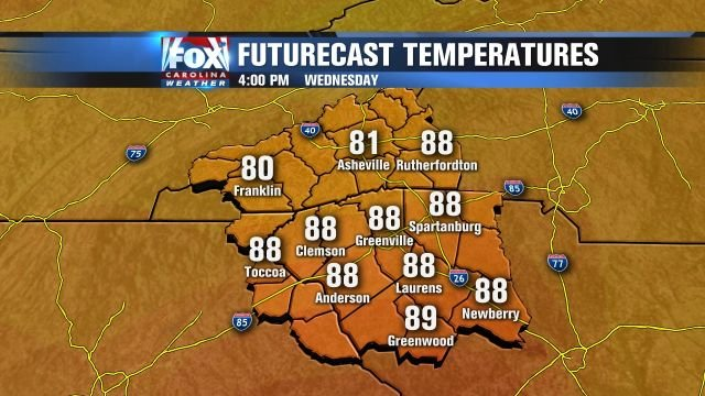 Very warm temperatures for late Wednesday