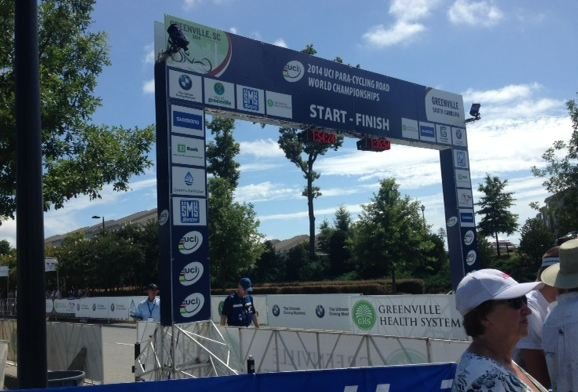 The finish line at the Para-cycling World Championship (FOX Carolina)