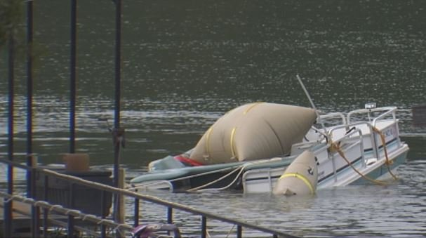 The boat is pulled out of the water. (Sept. 1, 2014/FOX Carolina)