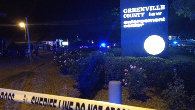 Crime scene tape is up around the Greenville Co. Law Enforcement Center. (Sept. 1, 2014/FOX Carolina)