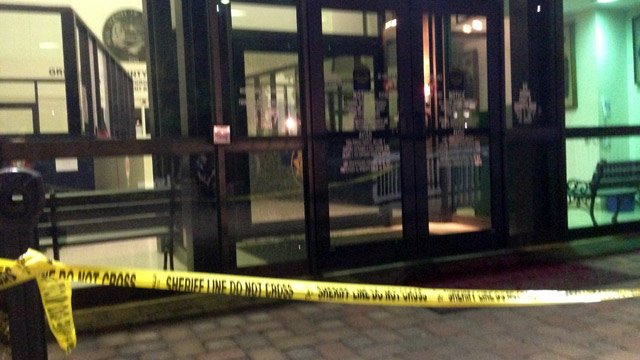 The front doors into which, police say, the suspect fired shots. (Sept. 1, 2014/FOX Carolina)