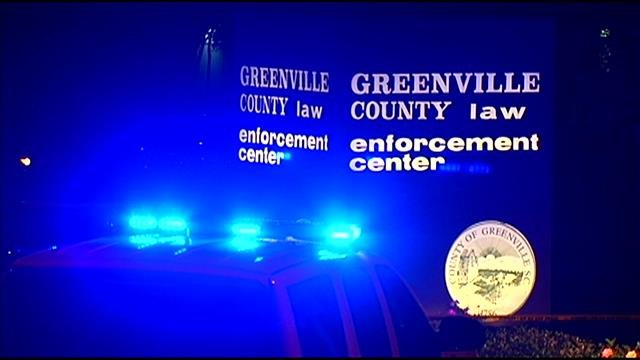 Deputies and police swarmed the Greenville Co. Law Enforcement Center as shots rang out Monday night. (Sept. 1, 2014/FOX Carolina)