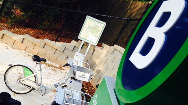 The new B-cycle station at the Greenville Zoo. (Sept. 3, 2014/FOX Carolina)