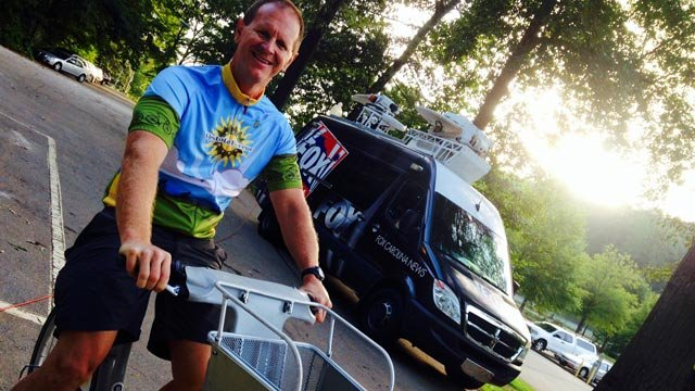 Steve Baker with Upstate Forever rides a B-cycle. (Sept. 3, 2014/FOX Carolina)