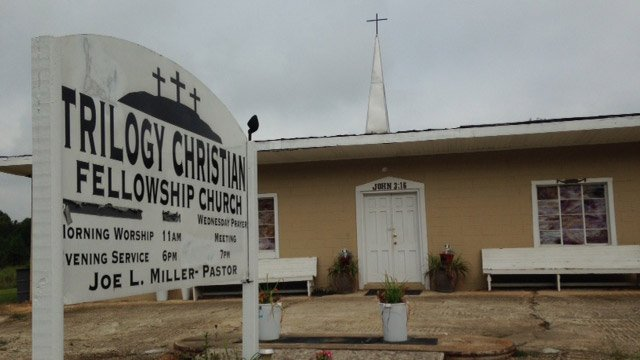 The sign for Trilogy Christian Fellowship that was vandalized. (Sept. 4, 2014/FOX Carolina)