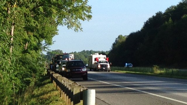 Emergency crews and other cars stopped alongside I-26 after the wreck. (Sept. 5, 2014/FOX Carolina)